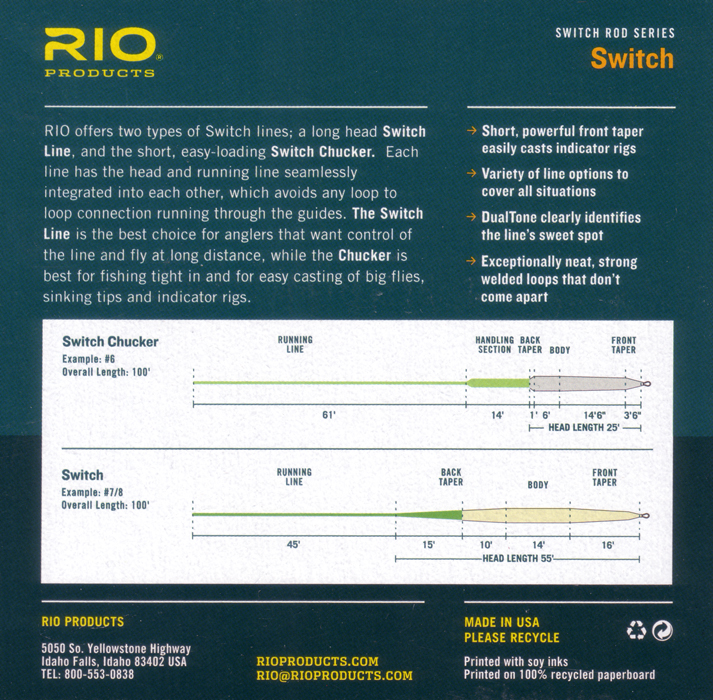 NEW RIO IN TOUCH SWITCH LINE 350 GR #5//6 WEIGHT FLOATING SWITCH FLY LINE