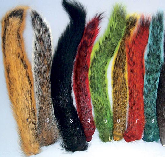 Dyed Squirrel Tails from W. W. Doak